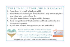 What to do if your infant or child is choking.  You can order the magnet or download the free print version