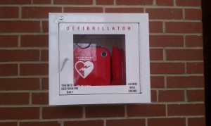 Check out the label on this AED cabinet